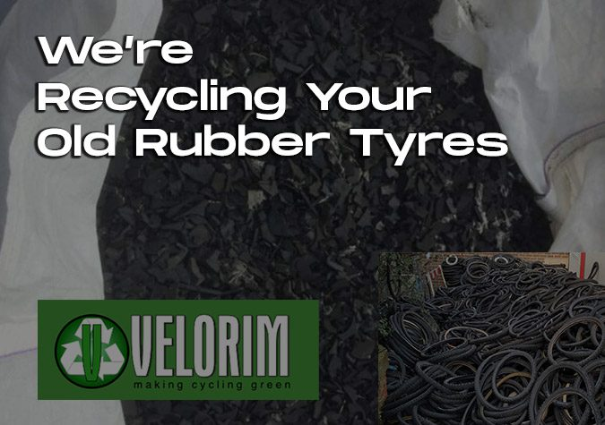 Blog banner with recycled tires and old tyres Velorim-Recycling